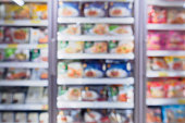 Abstract supermarket refrigerator for storage frozen food product in grocery store