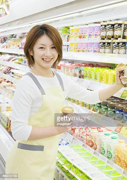 A supermarket store clerk