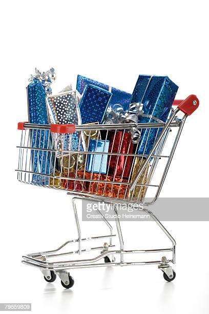 Supermarket trolley with christmas parcels