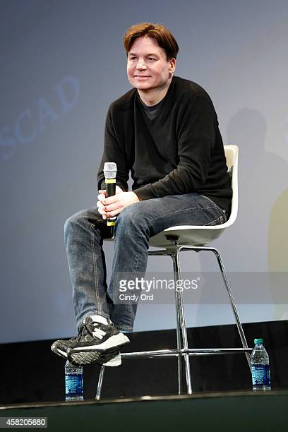 'Supermensch' director Mike Myers speaks on stage during a panel discussion at the 17th Annual Savannah Film Festival on October 31 2014 in Savannah...