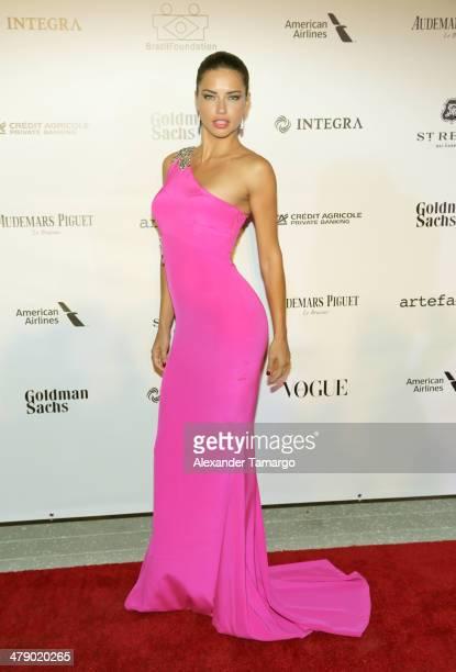 Supermodel Adriana Lima arrives at the third annual BrazilFoundation Gala Miami at Perez Art Museum Miami on March 15 2014 in Miami Florida