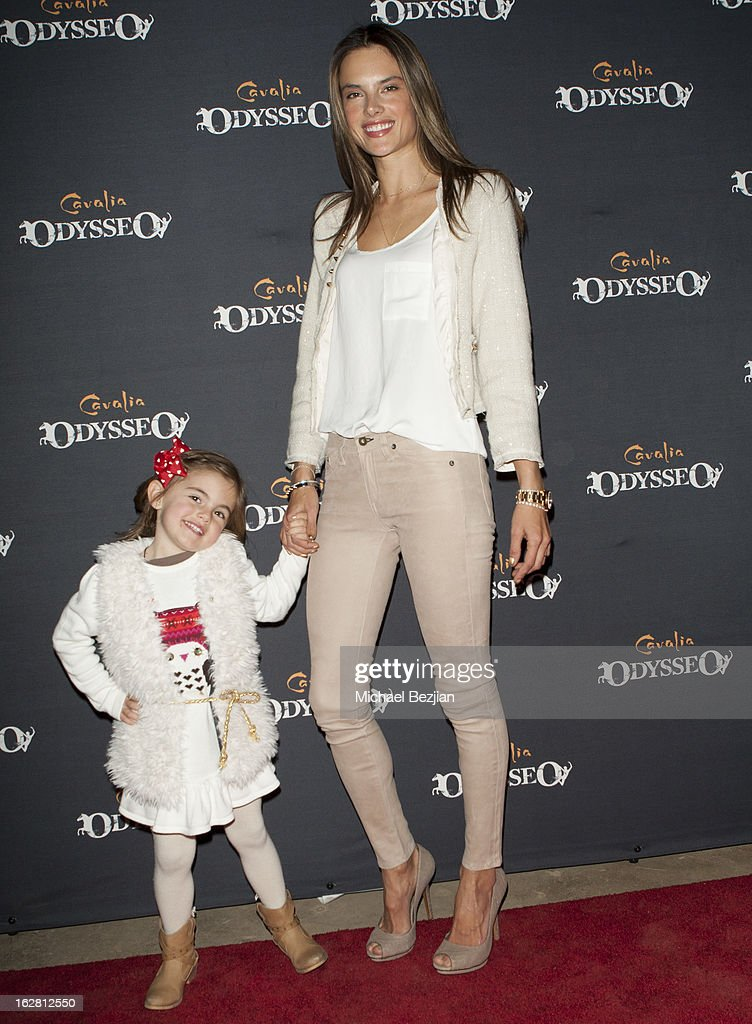 Supermodel Alessandra Ambrosio and daughter Anja Mazur attend Celebrity Red Carpet Opening For Cavalia's 'Odysseo' at Cavalia's Odysseo Village on February 27, 2013 in Burbank, California.