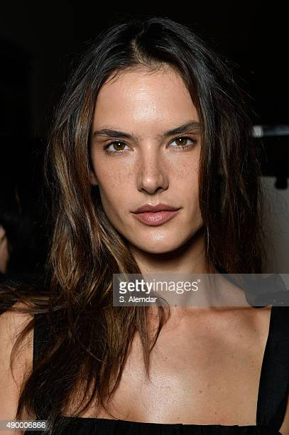 Supermodel Alessandra Ambrosio is seen backstage ahead of the Philosophy di Lorenzo Serafini show during Milan Fashion Week Spring/Summer 2016 on...