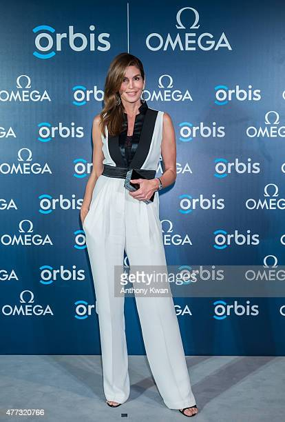 Supermodel and OMEGA Ambassador Cindy Crawford attends 'The Hospital In The Sky' Asian premiere presented by OMEGA on June 16 2015 in Hong Kong Hong...