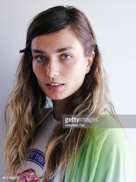 Supermodel Andreea Diaconu poses backstage at the Michael Kors Spring 2017 Runway Show at Spring Studios on September 14 2016 in New York City