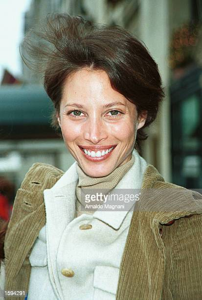 Supermodel Christy Turlington poses for a photo February 14 2001 while walking on Fifth Avenue in New York City