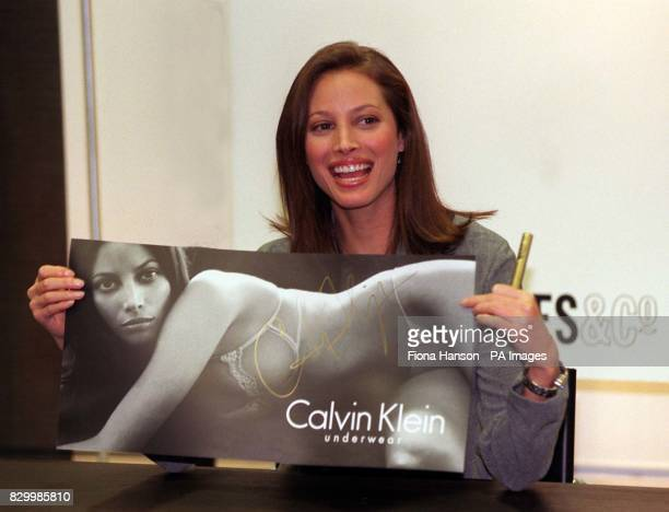 Supermodel Christy Turlington poses for the media today in London's Selfridges store where she was on hand to promote Calvin Kline Underwear Photo by...
