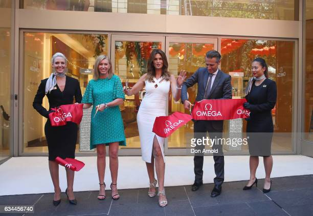 Supermodel Cindy Crawford cuts the ribbon outside the Omega store at Martin Place on February 10 2017 in Sydney Australia