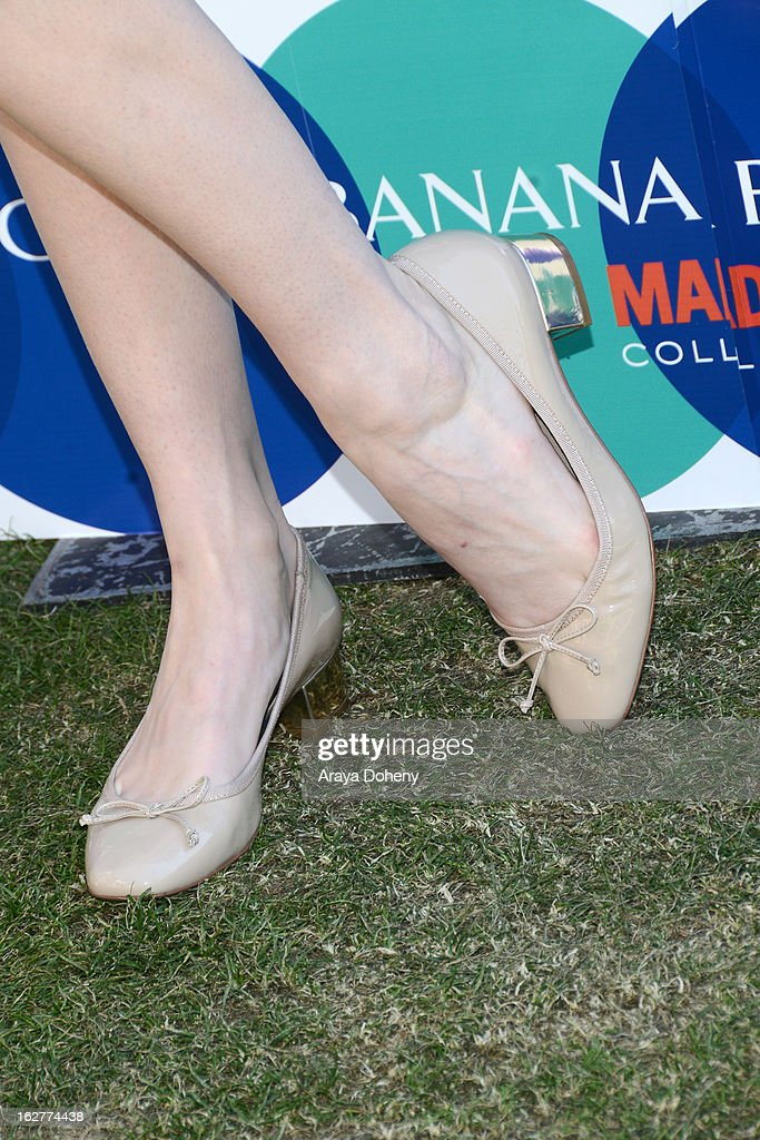 Supermodel Coco Rocha (shoe detail) hosts the Banana Republic Mad Men Spring 2013 Mod Pod at Banana Republic at The Grove on February 26, 2013 in Los Angeles, California.