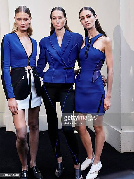 Supermodel Constance Jablonski Josephine Le Tutour and Marine Deleeuw poses prior the Mugler show as part of the Paris Fashion Week Womenswear...