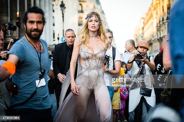 Supermodel Doutzen Kroes exits the Versace Couture show at Palais Brongniart on July 5 2015 in Paris France