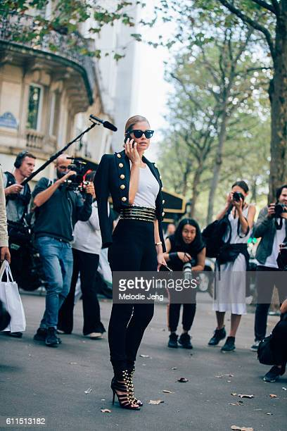 Supermodel Doutzen Kroes outside the Balmain show at Hotel Potocki on September 29 2016 in Paris France