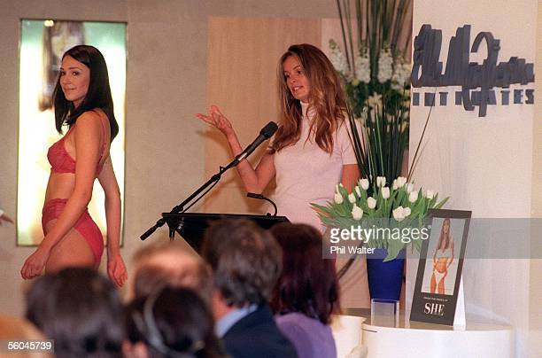 Supermodel Elle MacPherson conducts a fashion show at the Bendon Shop in Newmarket during her promotional visit to New Zealand to promote her new...