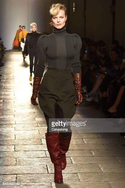 Supermodel Eva Herzigova walks the runway at the Bottega Veneta Autumn Winter 2017 fashion show during Milan Fashion Week on February 25 2017 in...