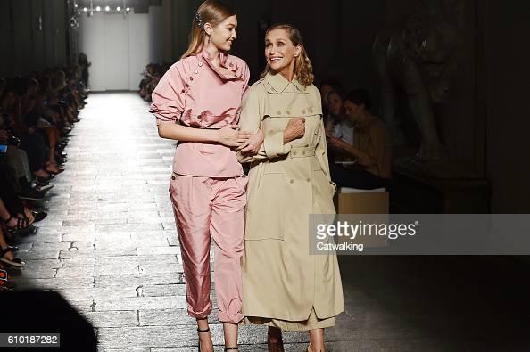 Supermodel Gigi Hadid and movie actor Lauren Hutton walk the runway at the Bottega Veneta Spring Summer 2017 fashion show during Milan Fashion Week...
