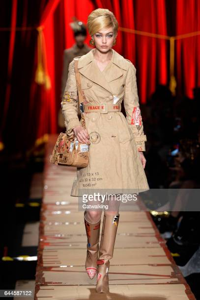 Supermodel Gigi Hadid walks the runway at the Moschino Autumn Winter 2017 fashion show during Milan Fashion Week on February 23 2017 in Milan Italy