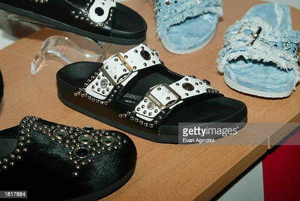 Supermodel Heidi Klum launches selfdesigned Birkenstock shoe collection at Bryant Park Hotel Cellar Bar February 26 2003 in New York City