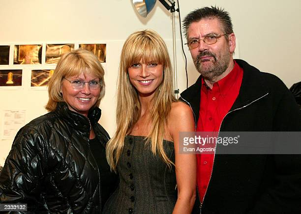 Supermodel Heidi Klum with her parents Erna and Gunther Klum during a fitting session for the Victoria's Secret 2002 Fashion Show at the Victoria's...