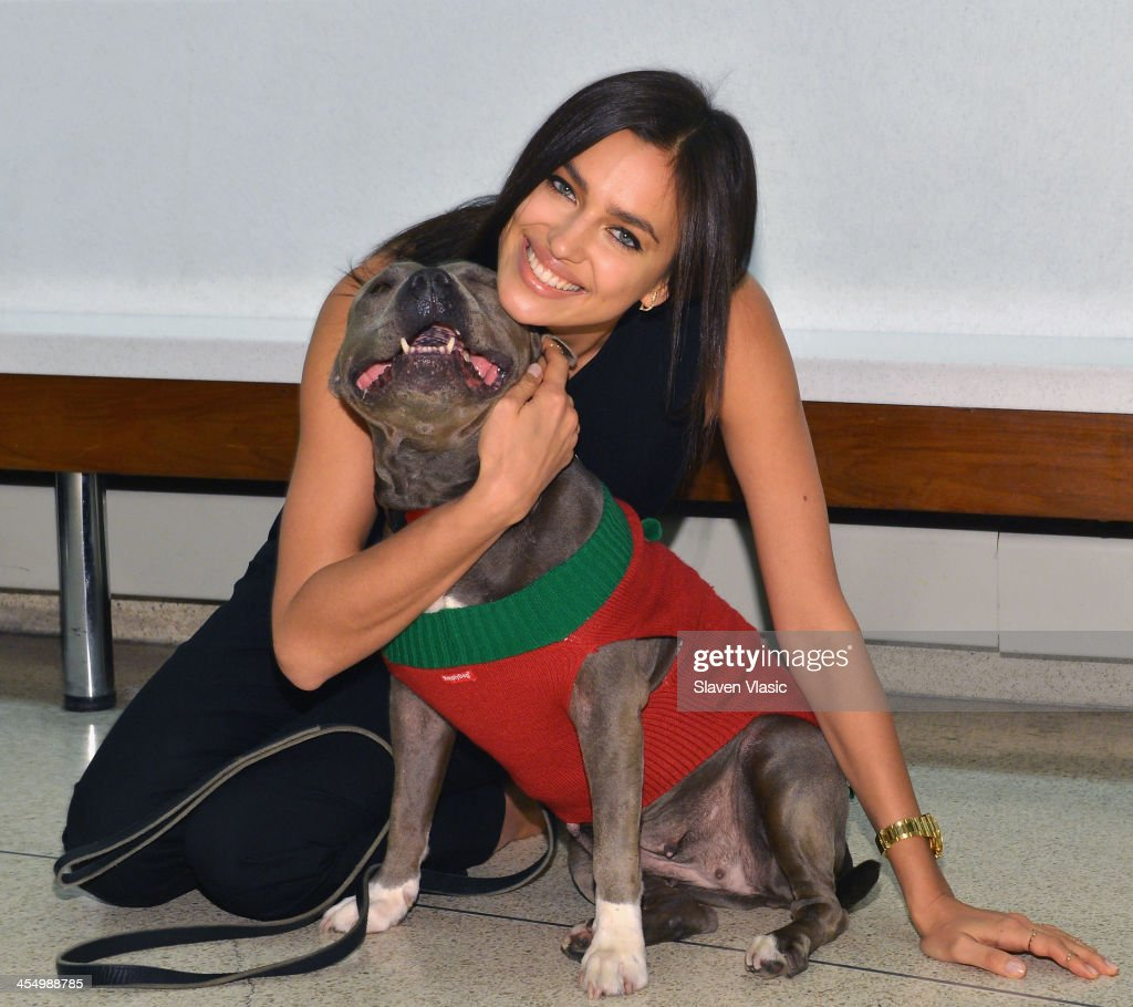 Supermodel Irina Shayk and Baby, a dog who needs a home for the holidays, spread the holiday cheer at ASPCA Adoption Center on December 10, 2013 in New York City.