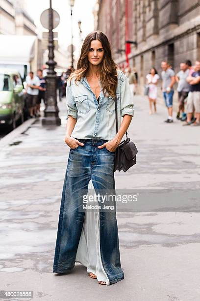 Supermodel Izabel Goulart exits the Alexandre Vauthier show on July 7 2015 in Paris France