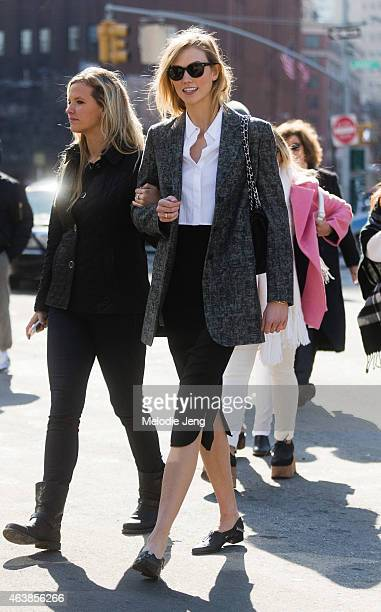 Supermodel Karlie Kloss exits the Michael Kors show on the streets of Manhattan on February 18 2015 in New York City