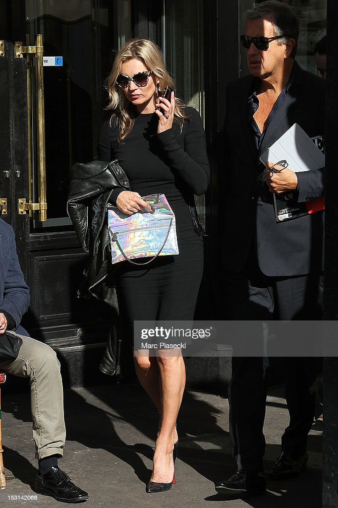 Supermodel Kate Moss is seen leaving the 'Cafe de Flore' on October 1, 2012 in Paris, France.