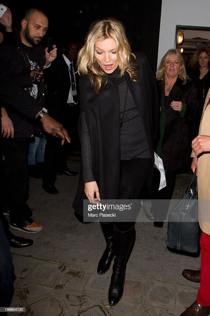 Supermodel Kate Moss leaves the 'Colette' store on November 21, 2012 in Paris, France.