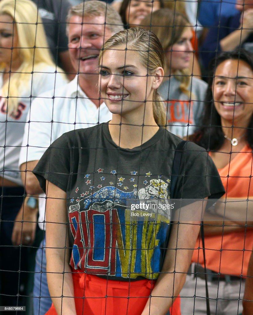 Supermodel Kate Upton and fiance of Justin Verlander #35 of the Houston Astros watches the celebration after the Astros won the American League West at Minute Maid Park on September 17, 2017 in Houston, Texas.