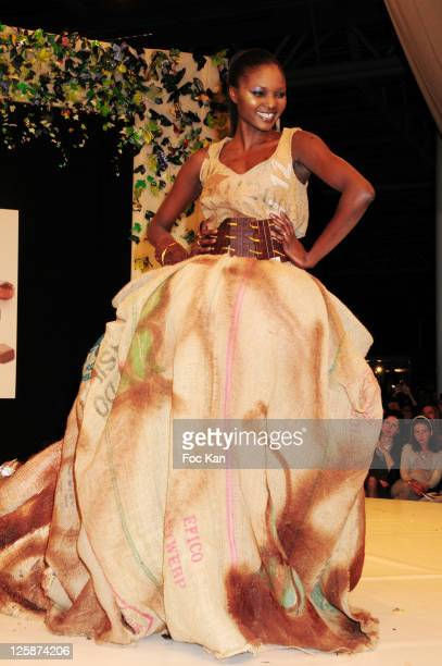 Supermodel Kewe Mar dressed by Francois Pralus and Francoise Carre attends the Salon Du Chocolat 2010 Opening Night at the Parc des Expositions Porte...