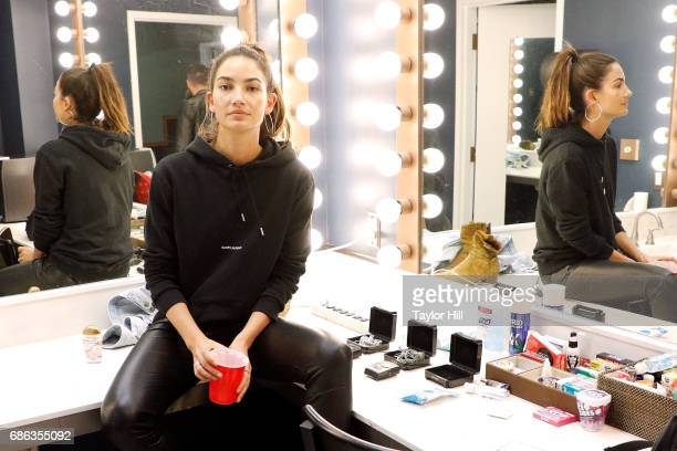 Supermodel Lily Aldridge poses for a backstage portrait at PNC Bank Arts Center on May 20 2017 in Holmdel New Jersey