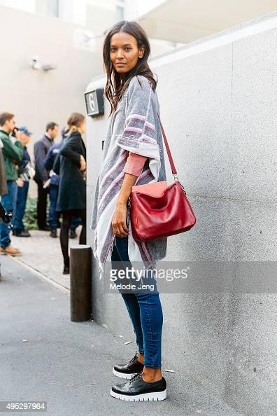 Supermodel Liya Kebede exits the Bottega Veneta show during the Milan Fashion Week Spring/Summer 16 on September 26 2015 in Milan Italy Liya wears a...
