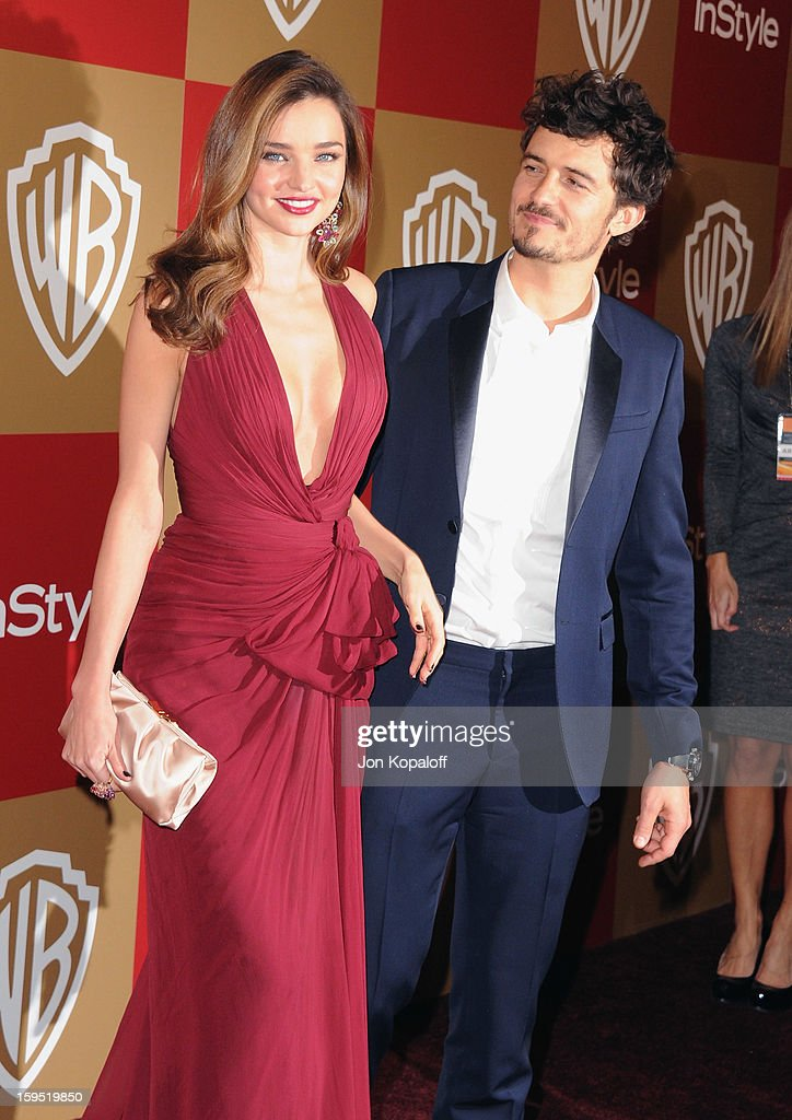Supermodel Miranda Kerr and husband actor Orlando Bloom arrive at the InStyle And Warner Bros. Golden Globe Party at The Beverly Hilton Hotel on January 13, 2013 in Beverly Hills, California.