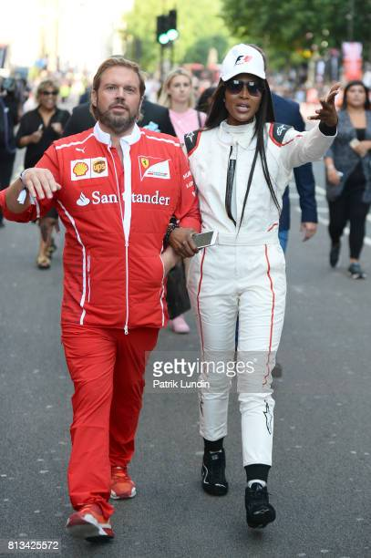Supermodel Naomi Campbell during F1 Live London at Trafalgar Square on July 12 2017 in London England F1 Live London the first time in Formula 1...