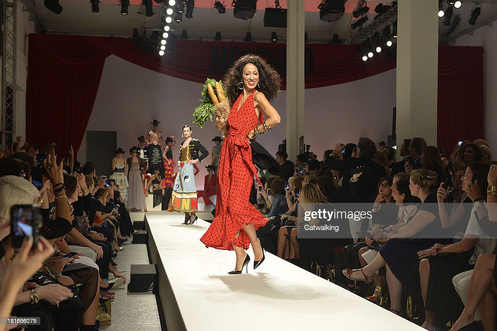 Supermodel Pat Cleveland walks the runway at the Moschino Spring Spring Summer 2014 fashion show during Milan Fashion Week on September 21, 2013 in Milan, Italy.