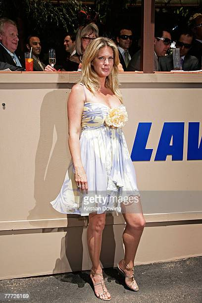 Supermodel Rachel Hunter poses in front of the Lavazza marquee on the second day of the Melbourne Cup Carnival 2007 Melbourne Cup Day at Flemington...