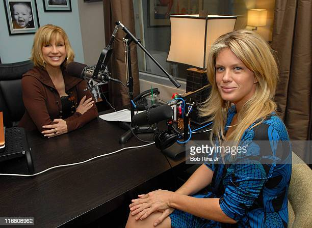 Supermodel Rachel Hunter talks with Leeza Gibbons on October 23 2007 during Gibbons' nationally syndicated radio show 'Hollywood Confidential' about...