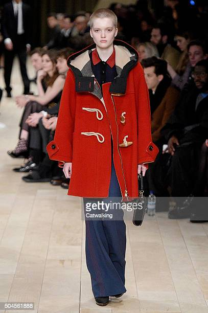 Supermodel Ruth Bell walks the runway at the Burberry Prorsum Autumn Winter 2016 fashion show during London Menswear Fashion Week on January 11 2016...