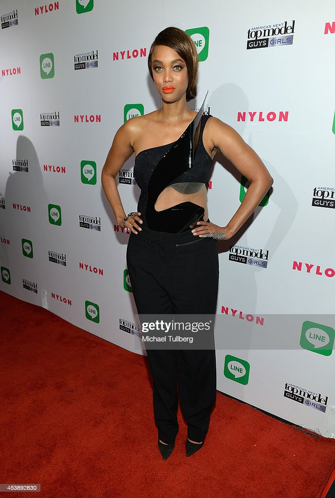 Supermodel <a gi-track='captionPersonalityLinkClicked' href=/galleries/search?phrase=Tyra+Banks&family=editorial&specificpeople=202216 ng-click='$event.stopPropagation()'>Tyra Banks</a> attends the premiere party for Cycle 21 of 'America's Next Top Model' presented by NYLON magazine and the LINE messaging app at SupperClub Los Angeles on August 20, 2014 in Los Angeles, California.