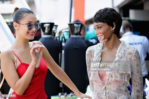 Supermodels Bella Hadid and Winnie Harlow on the grid during the Monaco Formula One Grand Prix at Circuit de Monaco on May 28 2017 in MonteCarlo...