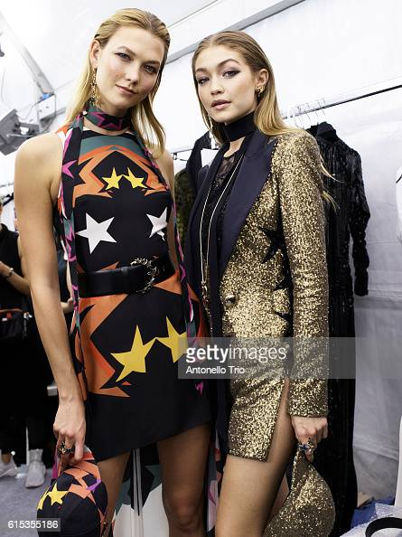 Supermodels Karlie Kloss and Gigi Hadid poses prior the Elie Saab show as part of the Paris Fashion Week Womenswear Spring/Summer 2017 on October 1...