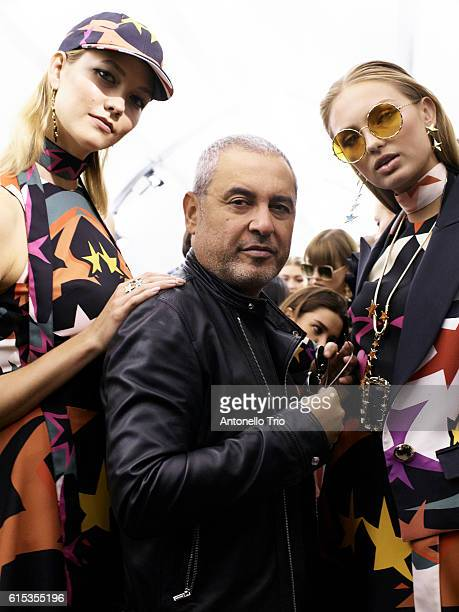 Supermodels Karlie Kloss and Romee Strijd poses with the designer Elie Saab prior the Elie Saab show as part of the Paris Fashion Week Womenswear...
