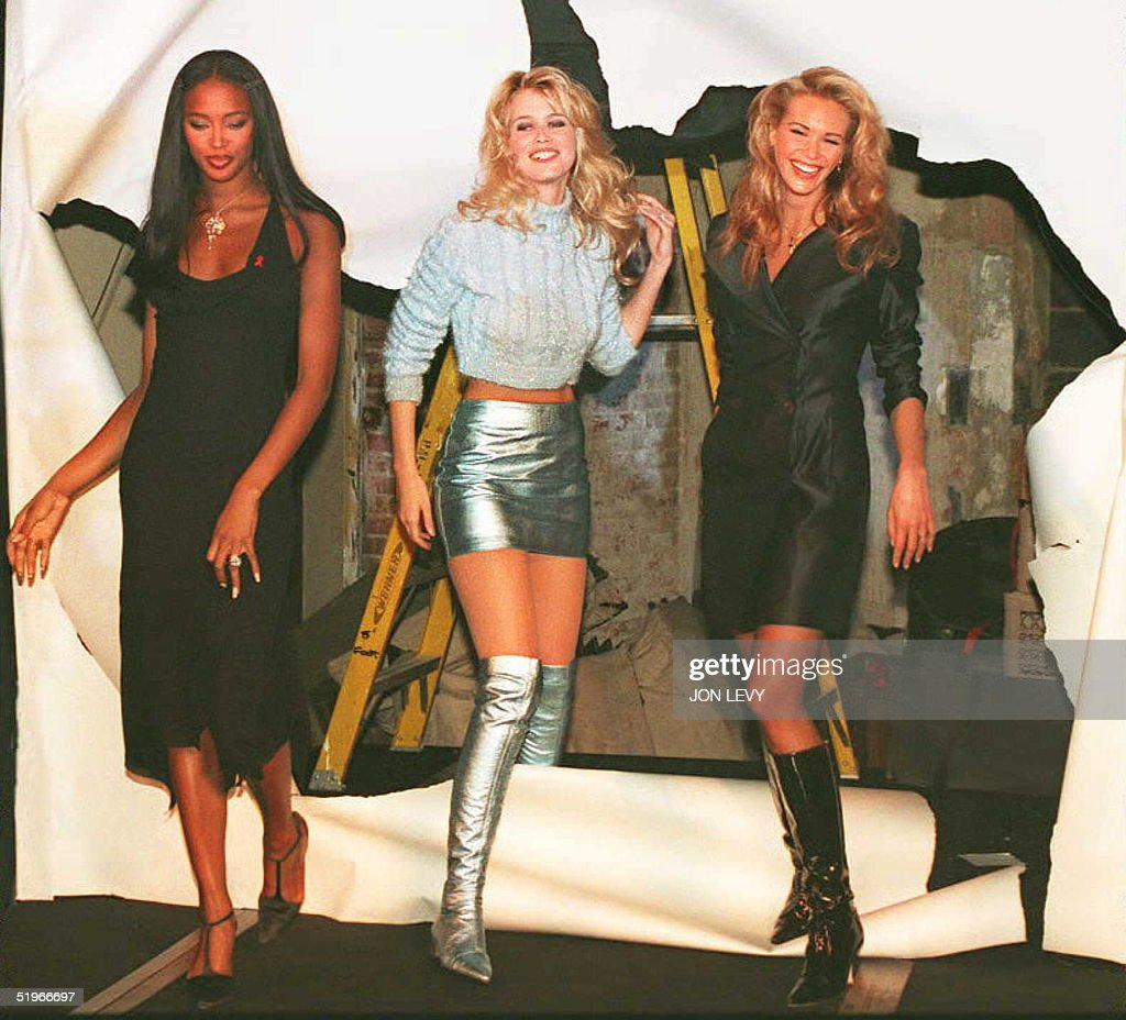 Supermodels Naomi Campbell Claudia Schiffer and Elle MacPherson make a grand entrance at the launch party of their new restaurant 'The Fashion Cafe'...