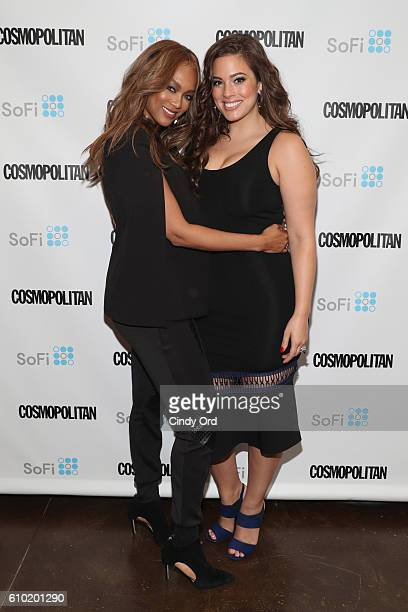 Supermodels Tyra Banks and Ashley Graham attend Cosmopolitan Fun Fearless Money 2016 on September 24 2016 at Cedar Lake in New York City