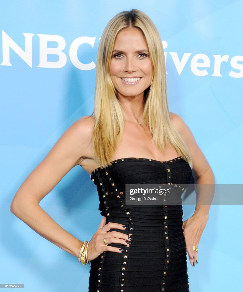 Supermodel/TV personality Heidi Klum arrives at the 2013 NBC Summer Press Day at The Langham Huntington Hotel and Spa on April 22, 2013 in Pasadena, California.