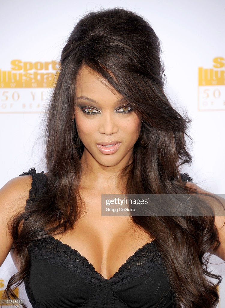 Supermodel/TV personality Tyra Banks arrives at the 50th Anniversary Celebration Of Sports Illustrated Swimsuit Issue at Dolby Theatre on January 14...