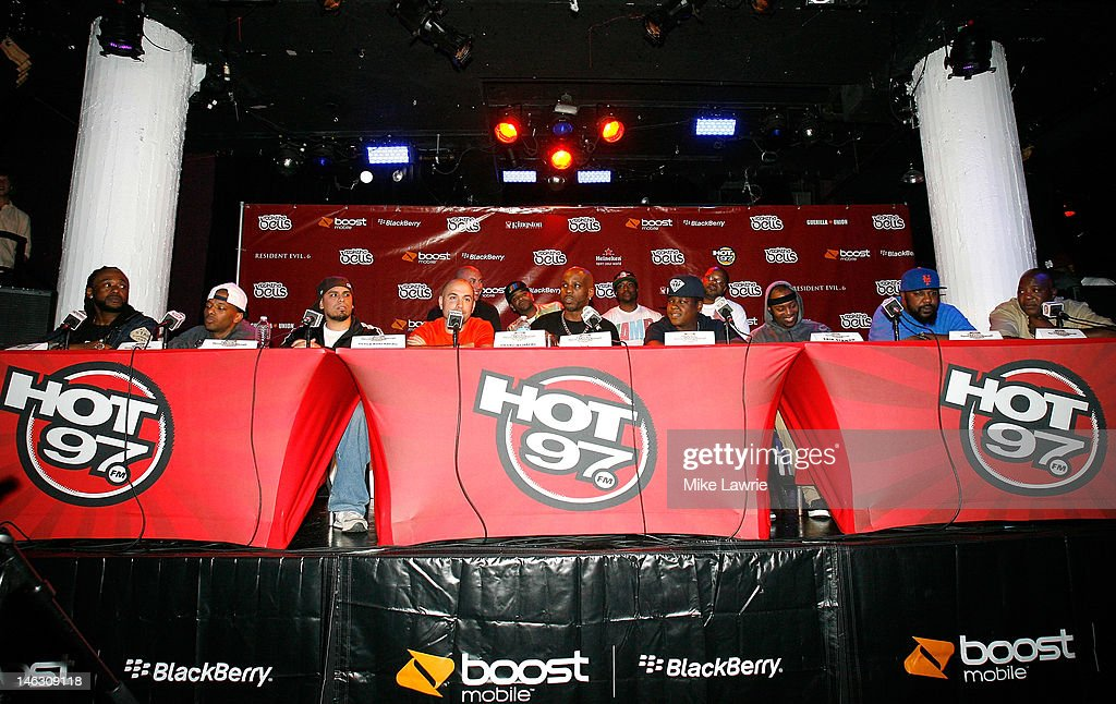 Supernatural, Prodigy, Immortal Technique, Peter Rosenberg of Hot 97, DMX, Jadakiss, Erick Sermon, Sean Price and Billy Danze of M.O.P. speak during the 2012 Rock the Bells Festival press conference and Fan Appreciation Party on at Santos Party House on June 13, 2012 in New York City.