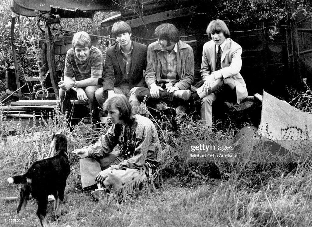 Superstar group 'Buffalo Springfield' pose for a portrait in 1967. (L-R) Dewey Martin, Richie Furay, Neil Young, Stephen Stills, Bruce Palmer (bottom).