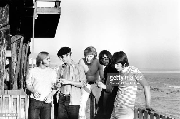 Superstar group 'Buffalo Springfield' poses for a portrait on a deck overlooking the Pacific Ocean on October 30 1967 in Malibu California Stephen...