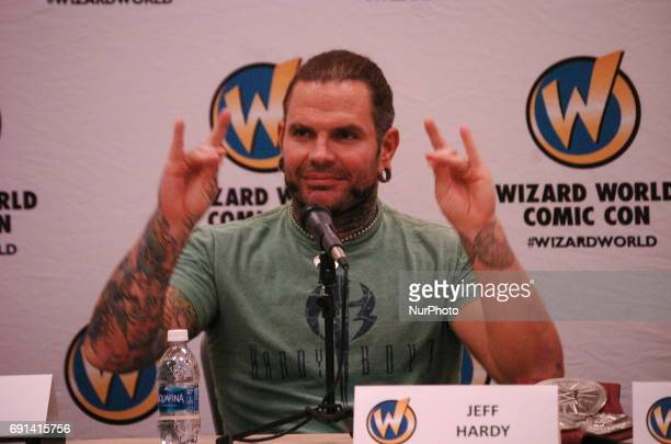 WWE Superstar Jeff Hardy fields questions from fans during the opening day of Wizard World Philadelphia 2017 in Philadelphia PA on June 1 2017