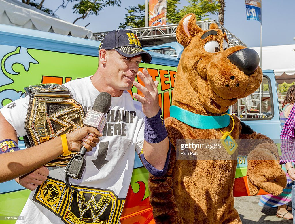 Superstar John Cena runs into Scooby backstage at Summerslam's Fan Axxess. The two will reunite this spring in WWE Studios & Warner Bros. Scooby-Doo! WrestleMania Mystery at Summer Slam 2013.' on August 17, 2013 in Los Angeles, California.